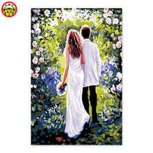 Digital painting decorative coloring handmade wedding gifts into the marriage hall paintings themselves color flowers