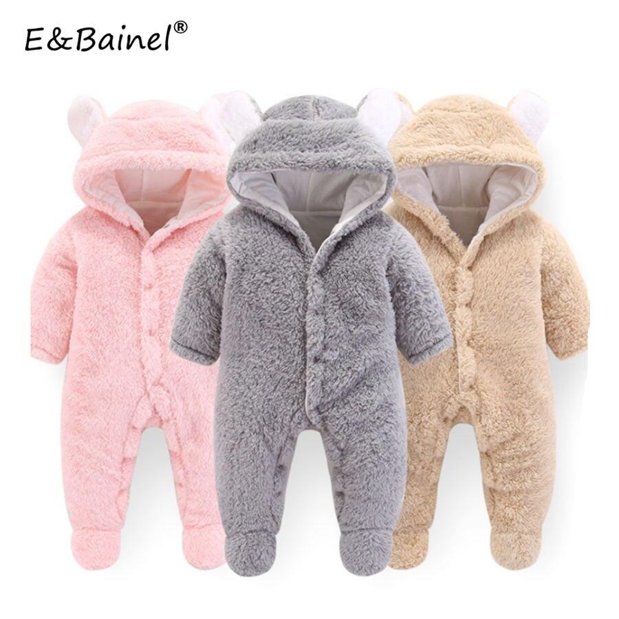 2019 Baby Girls Rompers Winter Autumn Newborn Footies Bodysuit Cotton Fleece Bear Long Sleeve Jumpsuit Infant Baby Boy Clothes