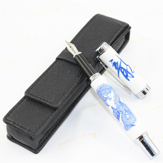 1 X Luxury Fountain Pen Jinhao 950 Blue and White Porcelain Dragon Medium Nib 18kgp jinhao jh 029 acrylic fountain pen translucent light blue