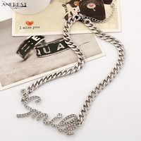 Initial Necklace Letter Jewellery With Stones Link Chain Female Collar Top Female Long Necklace Maxi Hip