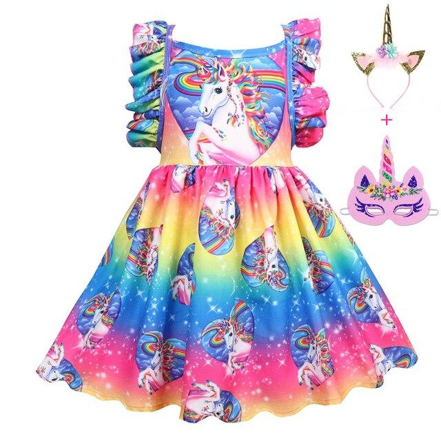 16632f4c0 € 12.31 25% de DESCUENTO|Nuevo vestido de niñas para fiesta princesa color  unicornio verano niñas ropa Casual estilo niños vestidos para niñas 8 ...
