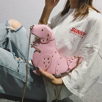 Fashion Rivet Dinosaur Women Mini Messenger Bag Solid PU Leather Crossbody Bag For Women Chain Purse Female Shoulder Bag