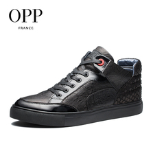 OPP Nuevos Hombres botas 2017 Zapatos de Los Hombres Botas de Invierno de Cuero Genuino la escala de pescados de los hombres Botas Tobillo de Los Zapatos para los hombres del Top del Alto Botas