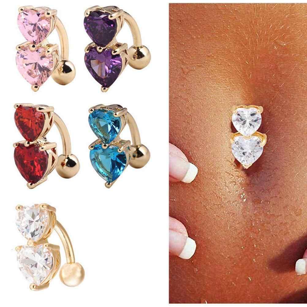 סקסי זהב-צבע גוף פירסינג נשים סקסי טבור ברבל שני לבבות כפתור טבור טבעת הפוך קריסטל זירקון בר בטן טבעת 1PC