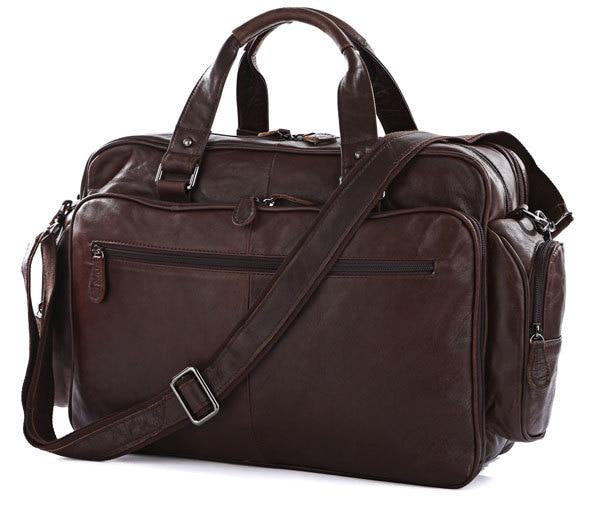 Nesitu Big Large Capacity Vintage Real Genuine Leather Men Travel Bags Messenger Bags 15.6 Laptop Briefcase #M7150