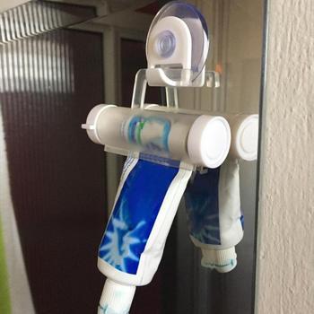 Plastic Toothpaste Dispenser Sucker Holder Rolling Tube Squeezer Dental Cream Bathroom Manual Syringe Gun Dispenser