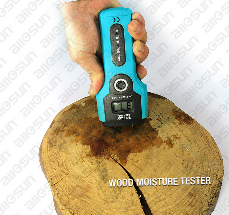 All-SUN EM4808 Portable Digital Moisture Meter LCD Display Wood Analyser 7 Ranges Measurement Scope 2%-5%