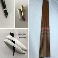 12 Adet Okçuluk Ahşap Cilt Saf Karbon Ok Milleri ID6.2mm Ekler/noktası/Türkiye Vanes/pim Nocks F Yay DIY Oklar Avcılık