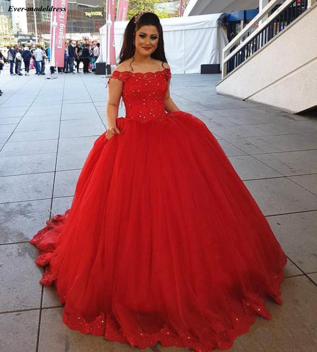 Sweet 16 Red Quinceanera Dresses 2019 Off Shoulder
