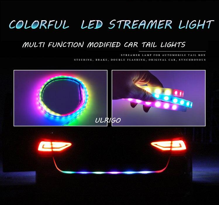 120 cm RGB LED bande de lumière pour voiture jaune tournant signal lumineux barre bande 5050 LED avec 5 fonctions de freinag