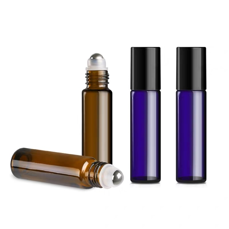 10ML Blue Amber Clear And Frosted Color Thick Glass Roll On Essential Oil Empty Parfum Bottles Roller Ball Travel Necessaries