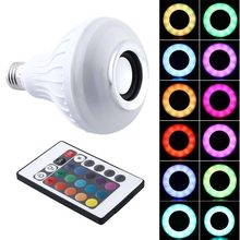 Smart E27 RGB Bluetooth Speaker LED Bulb Light 12W Music Playing Dimmable Wireless Led Lamp with 24 Keys Remote Control(China)