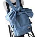 Fashion Women Canvas Backpack for Teenage Girls Students Bookbag School Bags Blue Denim Backpack Sweet Cute Funny Bow Backpacks