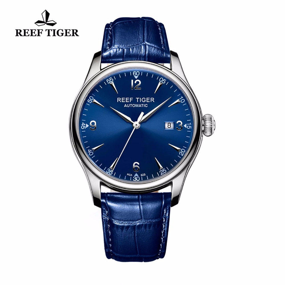 Reef Tiger/RT Blue Watches For Men Dress Mechanical Stainless Steel Leather Strap Automatic Watches with Date RGA823 reef tiger rt business men watch with date stainless steel leather strap waterproof mechanical watches rga823