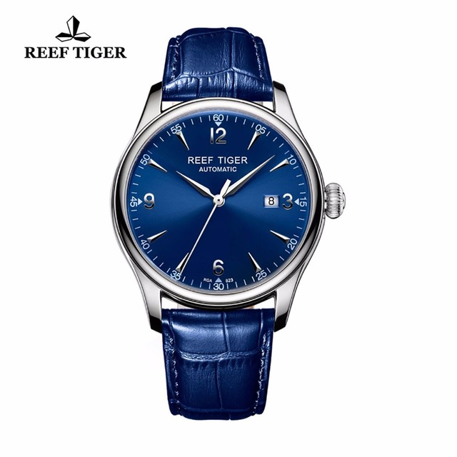 Reef Tiger/RT Blue Watches For Men Dress Mechanical Stainless Steel Leather Strap Automatic Watches with Date RGA823
