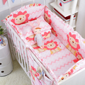 5 pcs pink color bedding Baby Crib Bumper Kids baby crib bedding set  100% cotton girl bedding bumpers cot  bed protector