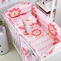 5 unids de color rosa ropa de cama de Bebé Cuna Parachoques Kids bebé cama cuna cuna del lecho 100% algodón de la muchacha de cama bumpers protector