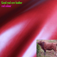 Good 2mm Thick Red Genuine Cow Leather Fabric Cow Skin Fabric Real Cow Leather Quilting Patchwork