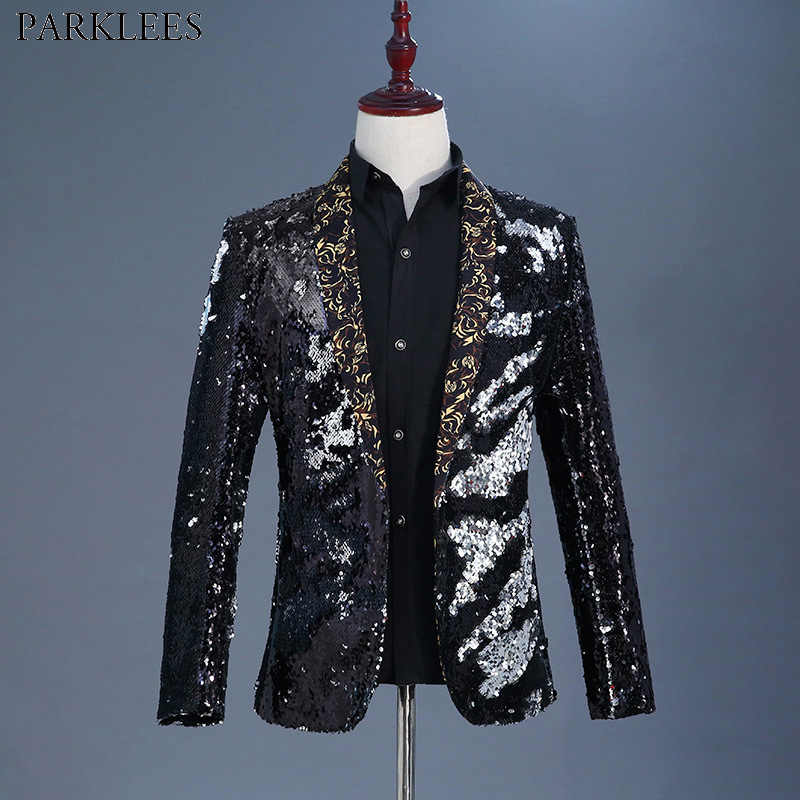 Mens Shawl Collar Black Sequin Dress Blazes Brand New Nightclub Prom Men  Suit Jacket Wedding Party db826637c4d0