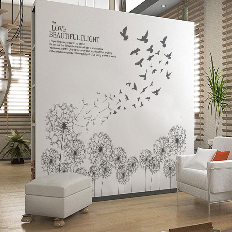Vinilo decorativo para pared with birds flying black for Vinilos pared aliexpress