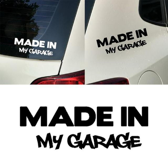 Car decor reflective car sticker made in my garage letter car sticker warning stickers
