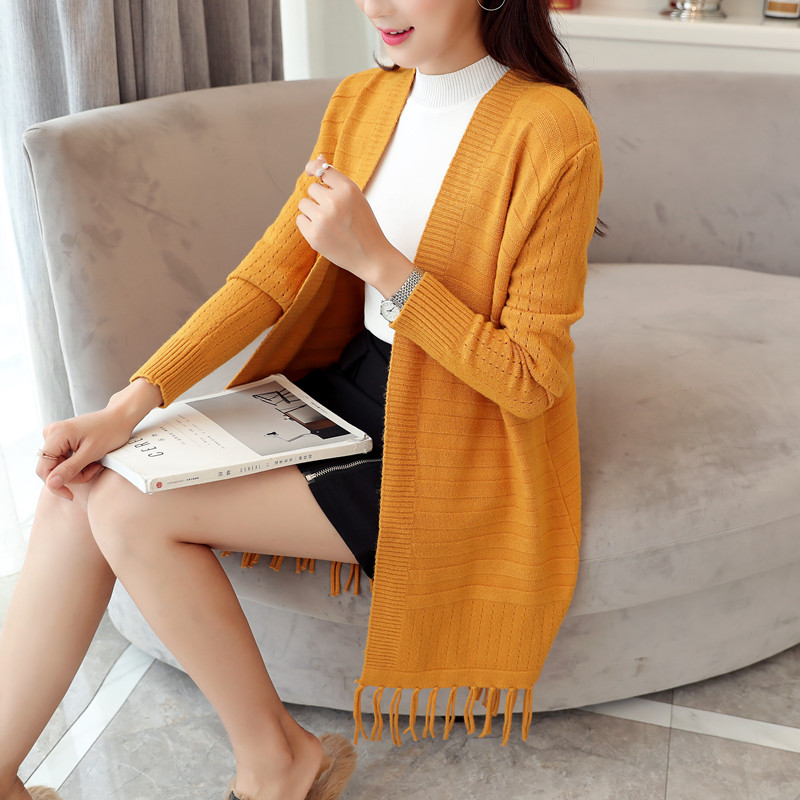 2017 new autumn cultivation in the long thin solid all match knitted cardigan sweater female tassel