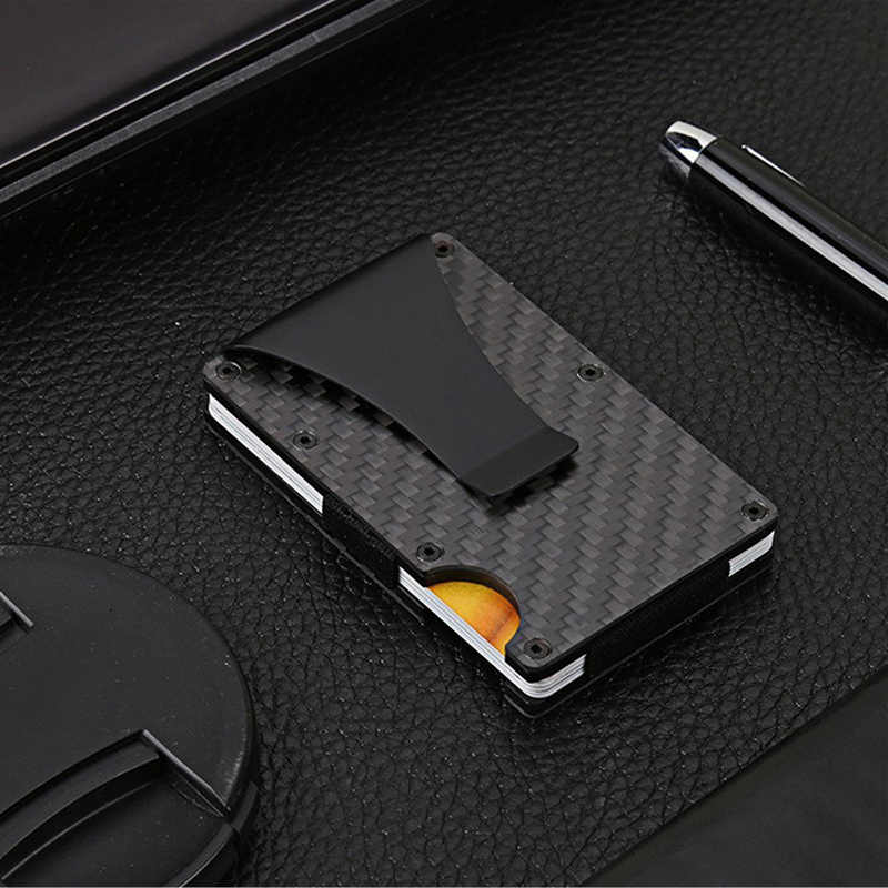 Men Fashion Carbon fiber wallet credit card holder Elastic Short Card Holder Wallet Purse RFID Blocking Card Wallet Dropship