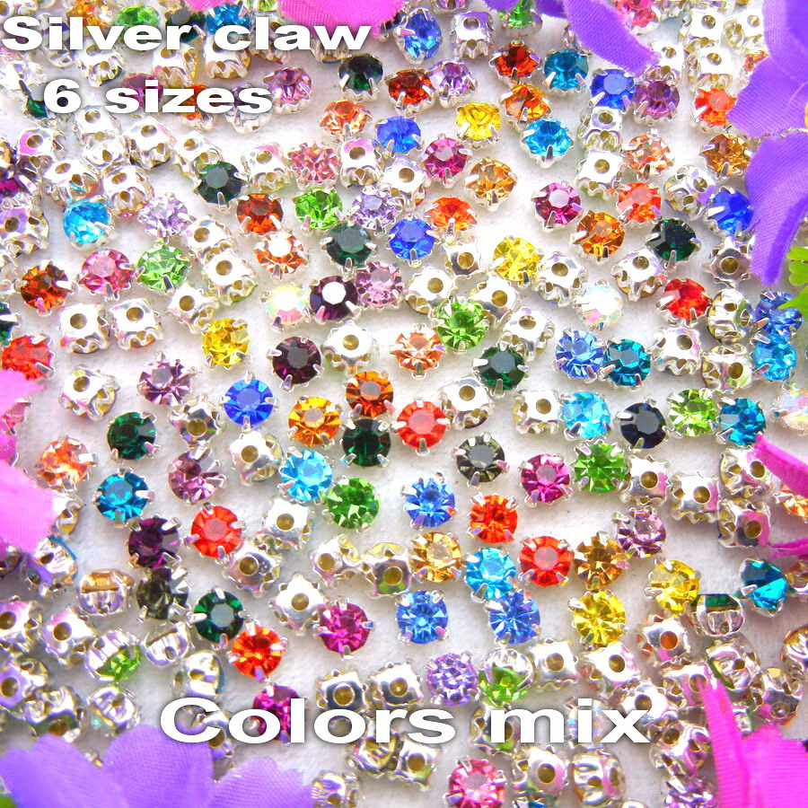 Factory direct sale nice colors mix 6 sizes round shape glass Crystal rhinestone beads Sew on Silver claw settings garment diy