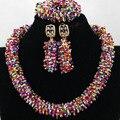 Gorgeous Multicolor Seed Beads Boda Africana de Nigeria Joyería Conjunto 2017 Accesorios de Joyería de Moda para Las Mujeres Libera la Nave WA740