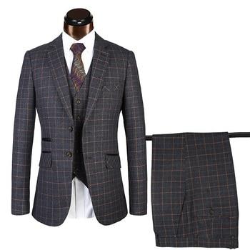 PAULKONTE (Jacket+Pants+Vest) Black Plaid Men Suit Fashion High Quality Business Groom Wedding Classic Men's Suit Plus Size