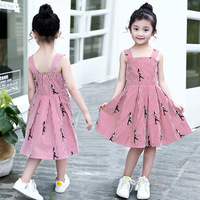 Free Shipping 2017 Summer Strap Striped Dress Girl Embroidered Little Doll Casual Dress For Girl