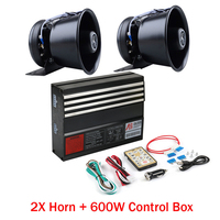 LARATH 1 SET 600W Warning Alarm control box 18 Sound Police Fire Siren Horn Wireless Remote with PA Speaker MIC System 2017 New