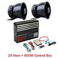 LARATH 1 SET 600W Warning Alarm control box 18 Sound Police Fire Siren Horn Wireless Remote with PA Speaker MIC System 2017 New