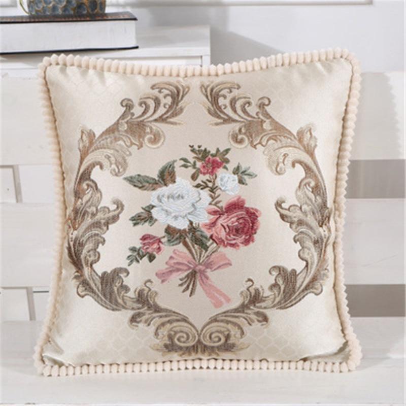 Home Textile 48x48cm European Embroidery Flower Pattern Car Decoration Pillowcase Home Hotel Chair Sofa Waist Cushion Cover Table & Sofa Linens