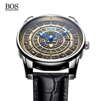 Retro 3D Stereoscopic Maya Calendar Dial Stainless Steel Automatic Watch Mens Mechanical Luminous Luxury Brand Men Watch Relojes