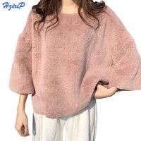HziriP BF Plush Sweatshirt Girls 2018 Spring New Arrival Basic Tops Fashion Elegant Loose Soft Thick