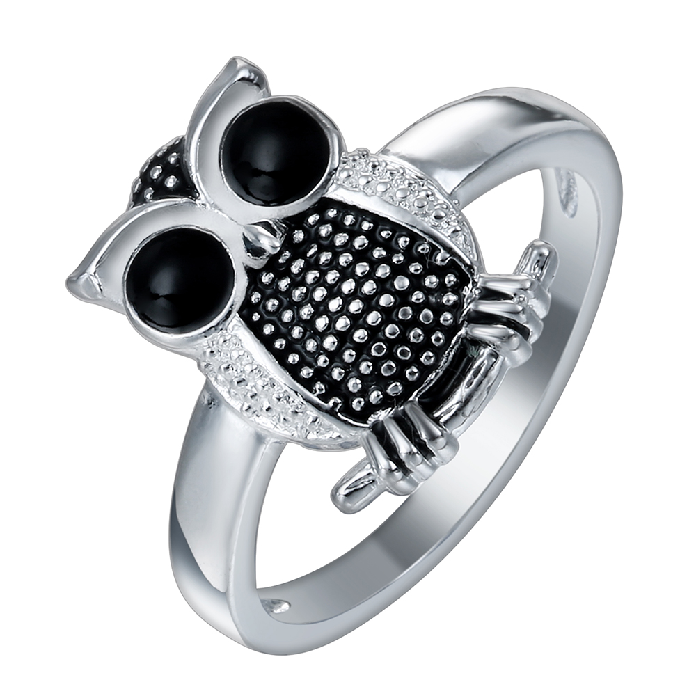 2017 Silver Color Unique Clear Cute Owl Finger Ring For Women Wedding  Engagement Fashion Jewelry Gift