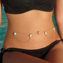 Simulated Pearls Body Chain Golden Elegant Summer Crossover Sexy Bikini Waist Chain Boho Beach Body Jewelry European  For Women