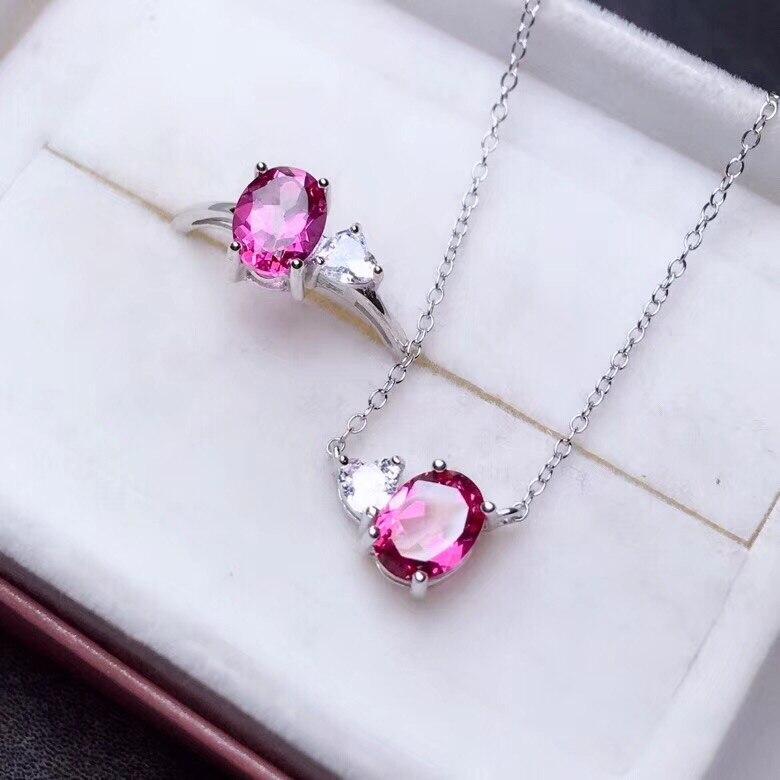 Bague et collier en topaze rose avec argent