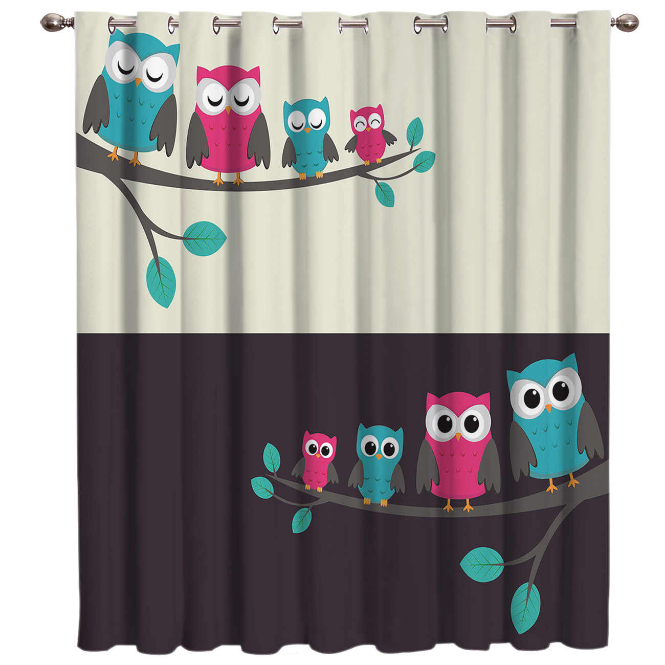 Cartoon Animals Cute Owl In The Day And Night Window Treatments Curtains Valance Room Curtains Large Window Window Curtains Dark