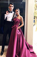 New arrival party strapless neck sleeveless evening dresses prom dress lace up Classic formal gown long satin belt style
