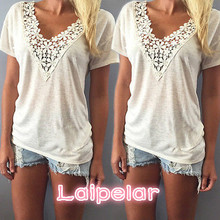 Fashion Women Summer Top Short Sleeve T Shirt Casual Top Tees Shirt Lace V Neck T-Shirts for Women Plus Size S M L XL XXL 5 Size fashion women summer top short sleeve t shirt casual top tees shirt lace v neck t shirts for women plus size s m l xl xxl 5 size