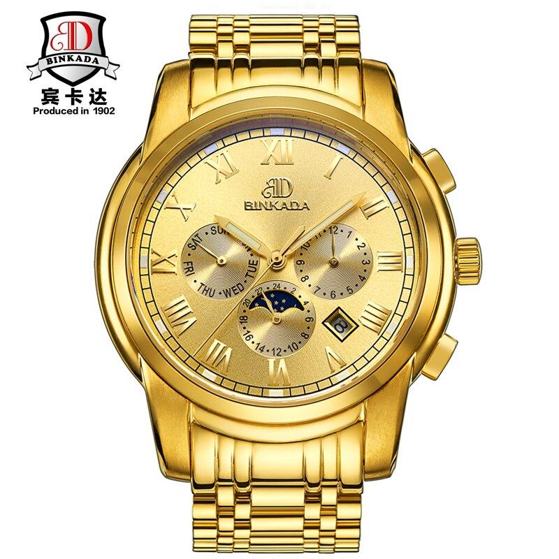 Watches Men Luxury Brand BINKADA Gold Automatic Mechanical Watch Waterproof Moon Phase Stainless Steel Wristwatch relogio