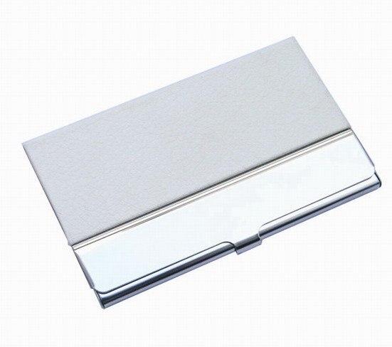 10 шт./партия из нержавеющей стали+ искусственная кожа бедж держатель для визиток, может сделать логотип NMS013 - Цвет: white