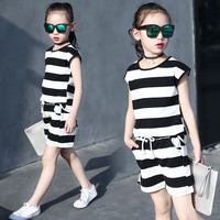 Girls Short-Sleeved Suit Summer Cotton Outfits Children Tracksuit Stripe Vest + shorts 2pcs/set 6 8 10 12 14 Years Girl Clothes