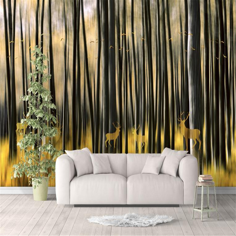 3d HD modern custom photo wallpaper abstract home background wall mural forest elk painting wallpaper for living room bedroom roman column elk large mural wallpaper living room bedroom wallpaper painting tv background wall 3d wallpaper for walls 3d