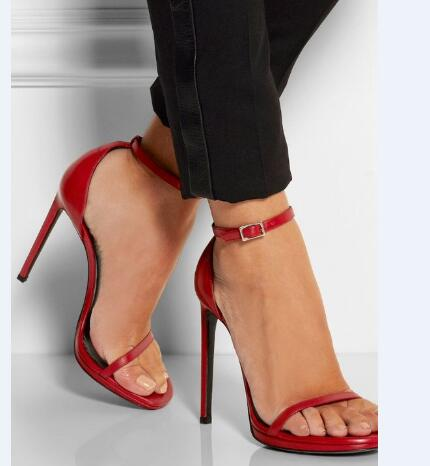 Luxury women shoes high heel sandals red runway shoes open-toe sandals for women buckle strap thin heels concise style sandals women pointed toe buckle thin high heels red bottom sandals shoes t strap print leather plus size lady sandals 42 51 sxq0710