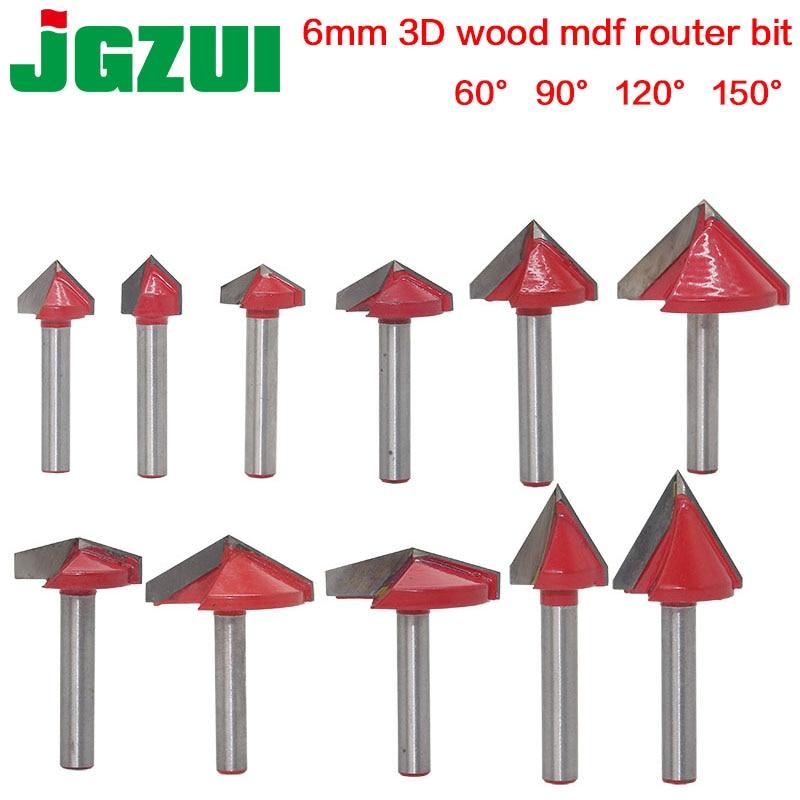 Fraise en carbure massif 6mm V, fraise en carbure massif de Bit-1PCS, fraise en acier au tungstène pour le travail du bois, mèche de toupie en MDF 3D, 60 90 120 degrés