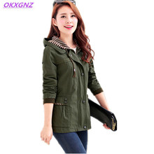 2017 Spring New Women Jacket Korean Fashion Short Coat Hooded Long Sleeve Woman Basic Coat Solid Color Big Yards Outerwear A212