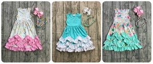 Image 2 - Novedad de verano, vestido maxi de algodón para niñas, color menta, floral, rosa, unicornio, azul sólido, volantes, sin mangas, collar y lazo